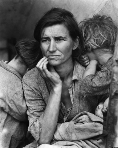 Dorothea Langes famous photograph of a destitute mother with her children was taken in depression-era California. The woman has been identified as Florence Thompson, who at the time was working as a pea picker. She was 32. Courtesy Library of Congress.